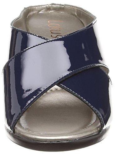 Lotus Trino, Mules Femme Blue (navy Patent)