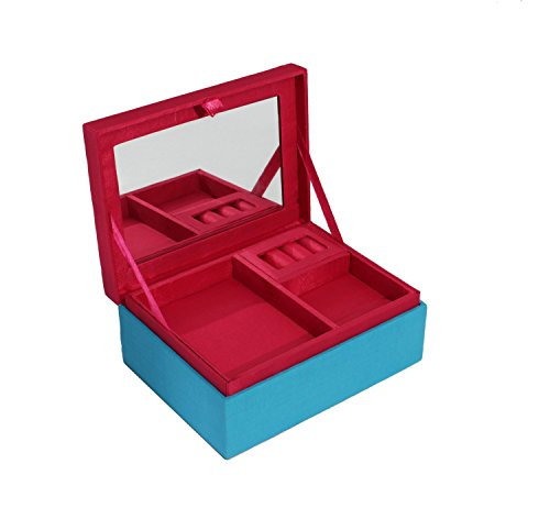 Store Indya, Bellissimo blu scatola di gioielli Organizzatore con lo specchio ricordo bagagli petto con la mano copertina ricastuoiaa