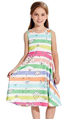 hen Sommer ärmellose Rainbow gedruckt a-Linie Kleider Baumwolle lässige Kleidung ()
