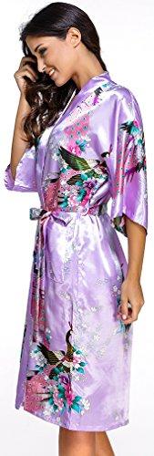 FLYCHEN lange Kimonos für Damen Bademantel aus Satin mit Pfau und Blüten Morgenmantel Robe Helllila-2