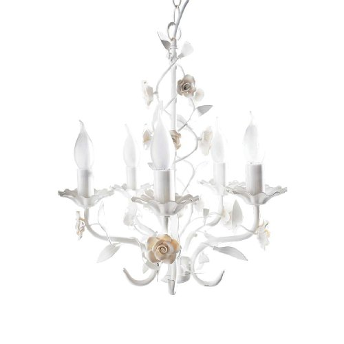 Kronleuchter Rosenblüten 5-flammig E14/max. 40W weiß 40 cm Ø