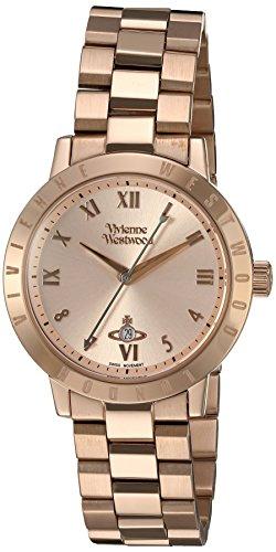 Bloomsbury para mujer Vivienne Westwood de oro rosa y cristales reloj infantil de cuarzo con esfera analógica y correa de acero inoxidable de oro rosa y cristales VV152RSRS