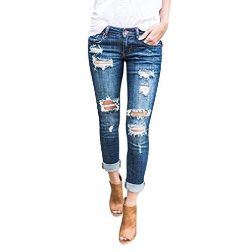 Hibote donna jeans, retro strappati skinny slim fit denim pantaloni con cerniera comode pantaloni a matita pantaloni in denim streetwear