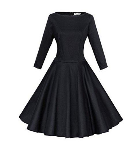 Wealsex Damen Elegant 3/4 Ärmel 50s Retro Schwingen Vintage Rockabilly kleid Faltenrock Schwarz