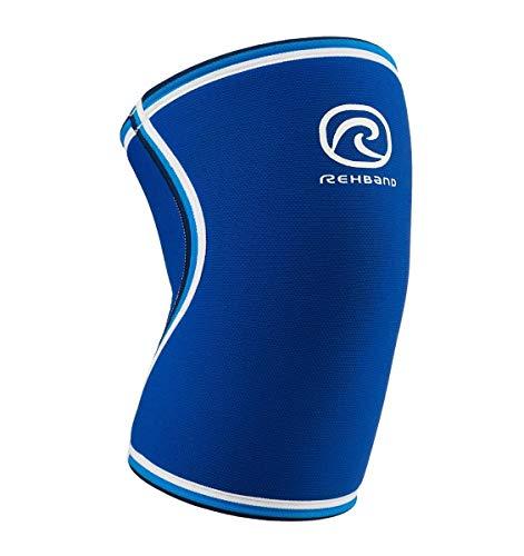 Rehband - Fascia Elastica per Ginocchio, in Neoprene da 7 mm, Stile Retro, Blu (Blu), S