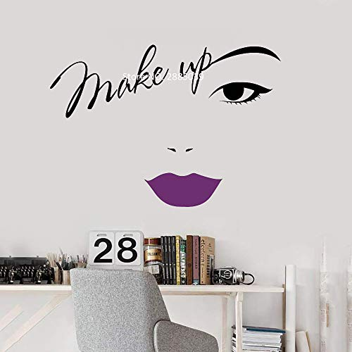 Ajcwhml Make-up Augenbrauen Wandapplikation rote Lippen Aufkleber Vinyl Schriftzug Aufkleber Schönheitssalon Kosmetik Shop Dekoration Mode Wandaufkleber Design 59cm x 42cm