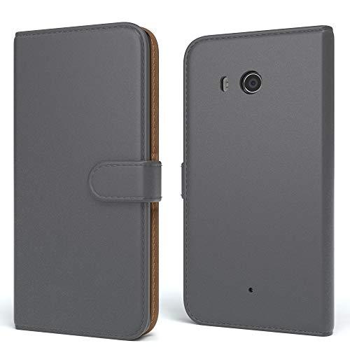 EAZY CASE HTC One (M8) / (M8s) Hülle Bookstyle mit Standfunktion, Book-Style Case aufklappbar, Schutzhülle, Flipcase, Flipstyle, Flipcover mit 2 Kartenfächern aus Kunstleder, Anthrazit