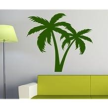 wandtattoo palme palmen pflanze baum tattoo wand deko sticker aufkleber 1e053 farbelindgrn glanz - Deko Baum Wand