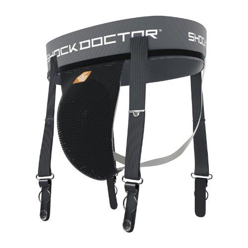Shock Doctor Ultra Hockey Strumpfband/Anhänger mit Tasse Tasche, 273-01-23, Schwarz, Youth Regular