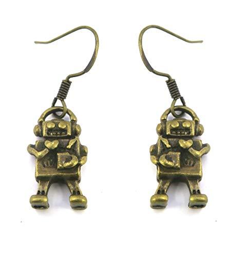 Roboter Ohrringe bronze-farben Modeschmuck