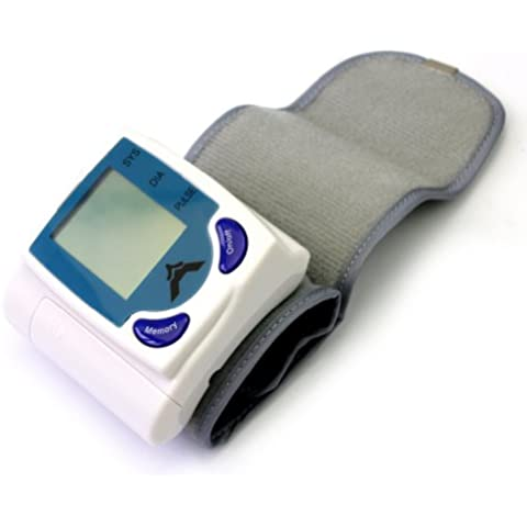 Digital LCD Muñeca Monitor Presión Arterial Frecuencia Cardíaca Pulso Medidor