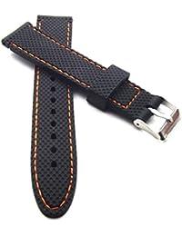 20 mm Silikon Uhrenband schwarz mit orange Naht Uhrenarmband wasserfest Kautschuk Armband