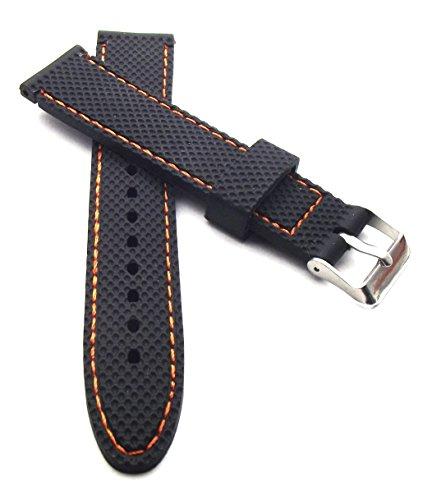 22 mm in silicone orologi colore nero con orange cuciture Cinturino...