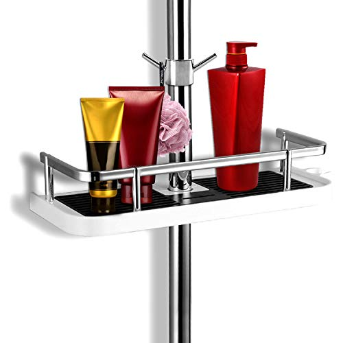 SANLINKEE Duschablage für Duschstange, Duschablage Rack Bad Aufbewahrung Rack mit Haken duschablage ohne bohren, Geeignet für alle Durchmesser von 19 bis 25mm Stange