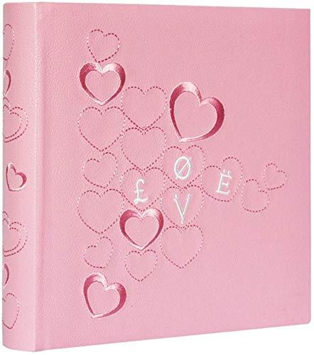 Yxynb album fotografico con area per la scrittura di promemoria, copertina ricamata in pu, anima in carta ecologica, foto 4.5 × 6 '' 200 foto turismo amore (colore, rosso), rosa