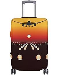 Preisvergleich für COOSUN Flugzeug Dreamliner Landung bei Sonnenuntergang-Druck-Reise-Gepäck Schutzabdeckungen Waschbar Spandex Gepäck...
