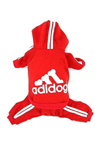 Dorapocket Adidog Haustierbekleidung Hund Und Katze Hoodie Sweater Um Warm Zu Bleiben,Rote S