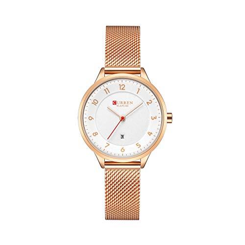 REALIKE Damen Armbanduhren Einfach Kalender Zahlen haben Wasserdicht Mesh-Gürtel Uhren Elegant Klassisch Ultradünn Britische Artart und Weise Neue High End Geschäftsuhr Business Freizeit (Nixon-skelett-uhr)