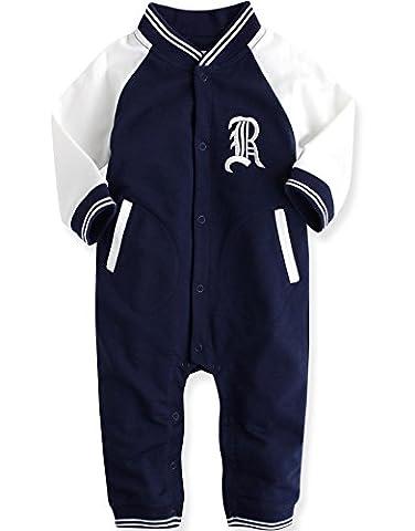 Vaenait Baby 80-92 Maedchen Infant Hooded Fruehling Jumpsuit Rompers Baby Raglan RL Navy 18-24M