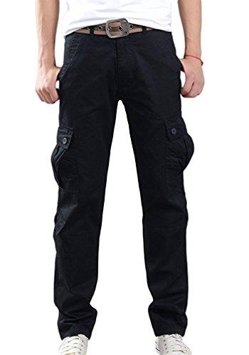 Sentao Uomo Pantaloni Workwear Slim Fit Cargo Pantaloni con tasconi Nero