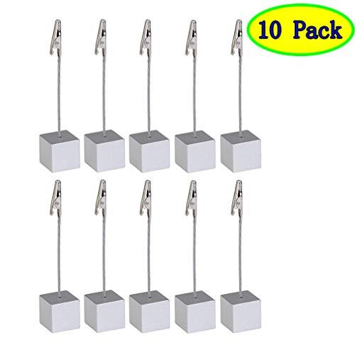 BIEE Karten Halter Tisch Cube Memo Halter Card Clip Foto Büroklammern Hinweis (Silber) 10 STK. - Foto-hinweis-card-inhaber