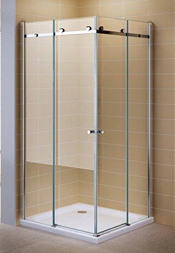 Schiebetuer Eckdusche Duschkabine Eckeinstieg mit Rollsystem aus Sicherheitsglas (ESG) 200 cm hoch #88 (90cm X 75cm Ohne Wanne)