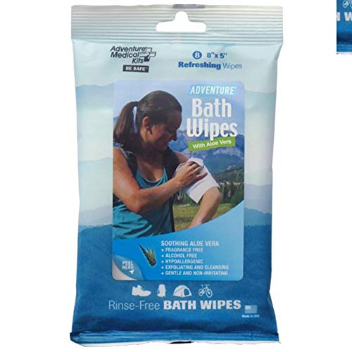 Adventure Medical Kit Bath Wipes Hypoallergenic Travel Camping Gym (8 Count)