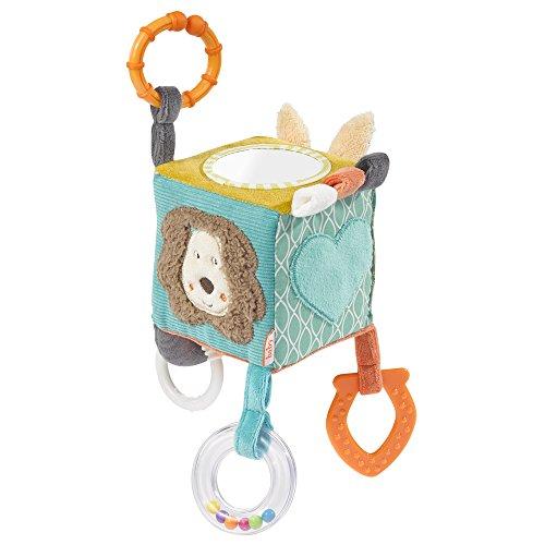 Fehn 066029 Activity-Würfel Funky Friends – Motorikspielzeug zum Aufhängen – Für Babys und Kleinkinder ab 0+ Monaten – Maße: 10 x 10 cm