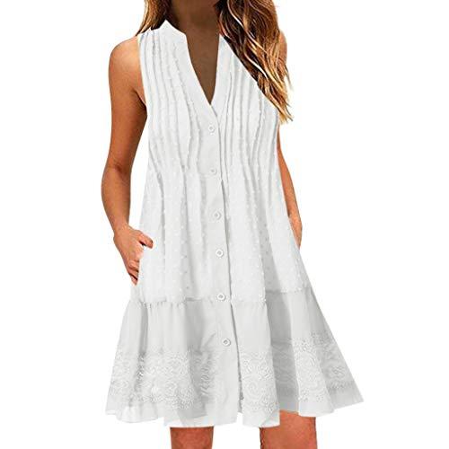 auen V-Ausschnitt ärmelloses Minikleid Spitze aushöhlen Tank Kleider Taste Rüschen Strand Dreess(Weiß,XXXL) ()