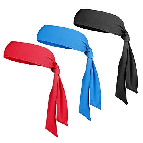 WINOMO 3Pcs Sport Fasce Dri-Fit Head Ties Mens Sweatbands Tennis Tie Hairband per Running Gym Esercizio Yogo Workout