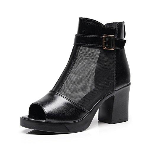 Frauen Mesh Sandalen Peep Toe Knöchel Stiefel Chunky Ferse zurück Reißverschluss Atmungsaktive Kleid Keil Schuhe - Frauen Erde-schuh-sandalen