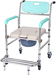 Folding Commode Bath Chair Wheelchair for Toilet with Wheels Armrest & Pedal,4 in 1 Multifunctional Alumin