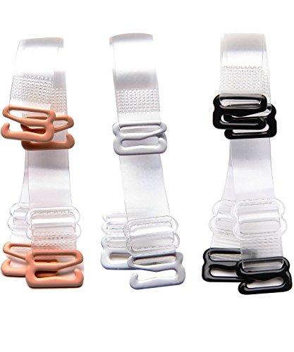 3 Paare Damen BH Träger, Transparent, Verstellbar, Durchsichtig, Unsichtbar, Einstellbar Metallhaken Ersatzträger BH-Träger (Breite-12mm, Transparent)