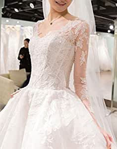 Robe de mariée col Rond Manches Longues Robe de soirée