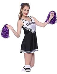 Anladia Cheerleader Kostuem Uniform Cheerleading Cheer Leader mit Pompom Minirock GOGO Damen Maedchen Karneval Fasching