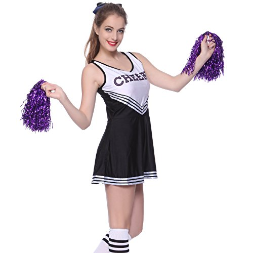Anladia Cheerleader Kostuem Uniform Cheerleading Cheer Leader mit Pompom Minirock GOGO Damen Maedchen Karneval (Cheerleader Uniformen)