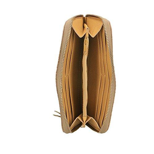 Portafoglio da Donna in Vera Pelle Made in Italy Stampa Pitonata Chicca Borse 20x11x3 Cm Fango