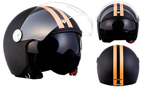 "Armor · AV-63 ""Fun Matt Black"" (black) · Casco Demi Jet · Moto Urbano Scooter Piloto Helmet Motocicletta · ECE certificato · Separate Visors · Click-n-Secure™ Clip · XL (61-62cm)"