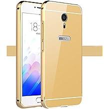 Prevoa ® 丨 Meizu M3 Note Funda - Metal Frame Funda Cover Case para Meizu M3 Note 5,5 Pulgadas Smartphone - Oro