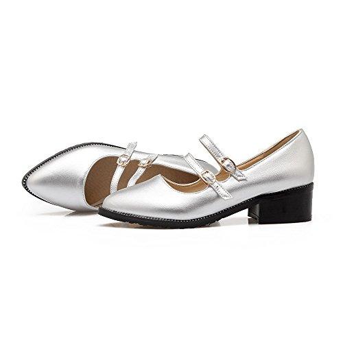 AllhqFashion Femme à Talon Correct Couleur Unie Boucle Pointu Chaussures Légeres Argent