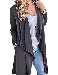 Femme Cardigan à Manches Longues Elégante Gilet Ouvert Fluide Asymétrique Noir/Gris S-XL Juleya