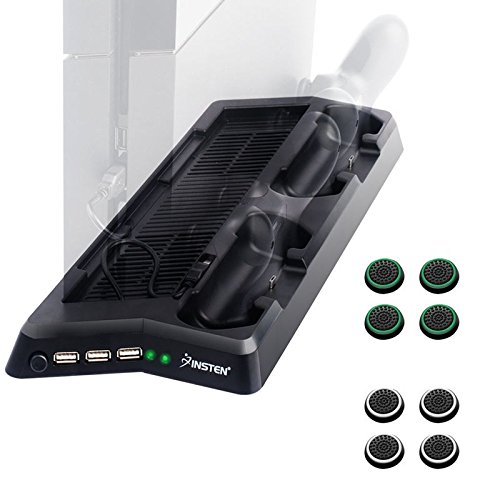 Insten Vertical Cooling Stand Organizer Charging Station compatible with PS4 + Insten Replacement [4 Pair/8 Pcs] Silicone Analog Thumb Grip Stick Cover Cap (Black/Green) (Black/White) -