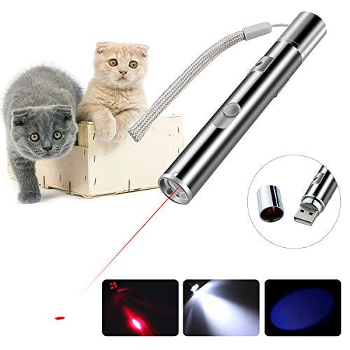 BiuCat C7 LED Pointer Katzen Hund 3 in 1 Spielzeug Haustier LED Light Licht Pointer, USB Direktaufladung, mit Geschenkbox