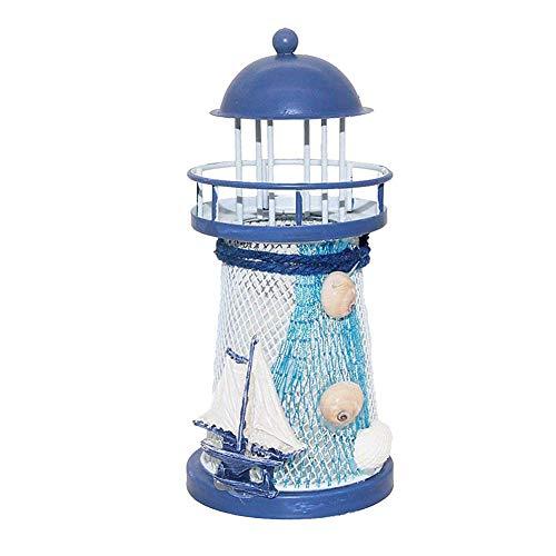 LED Eisen-Leuchtturm-Segelboot-Muster-Farbwechsel LED-Nachtlicht-Lampe Mittelmeer Leuchtturm Cretive Kerzenständer -