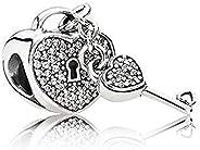 تعليقة سلسال مطلية بالفضة الاسترلينية على شكل مفتاح من باندورا - 791429CZ