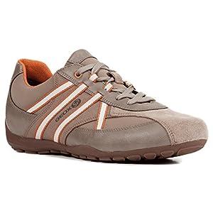 Geox U743FB Uomo Ravex Sportlicher Herren Sneaker, Schnürhalbschuh, Freizeitschuh, Atmungsaktiv, Herausnehmbare Innensohle Beige (Sand/Orange), EU 45