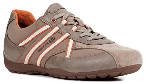 Geox U743FB Uomo Ravex Sportlicher Herren Sneaker, Schnürhalbschuh, Freizeitschuh, Atmungsaktiv, Herausnehmbare Innensohle Beige (Sand/Orange), EU 44