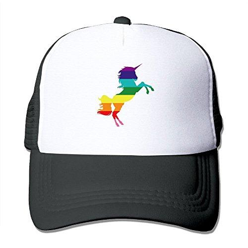 Unicorn Gay Rainbow Mesh Trucker Caps/Hats Adjustable For Unisex Black Black