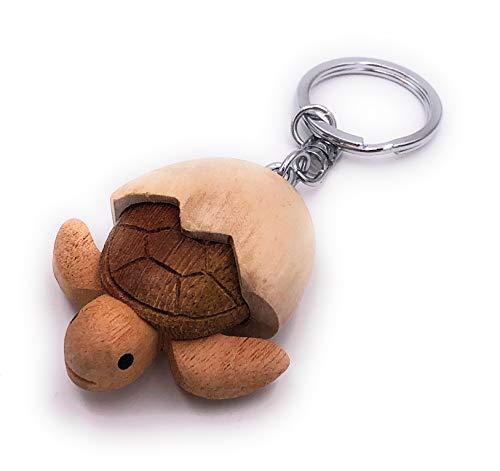 H-Customs Schildkröte aus Ei Baby Holz Edel Handmade Schlüsselanhänger Anhänger