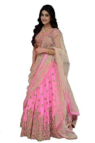 AnK Women\'s Banglori Satin Embroidered Long Semi-Stitched Lehenga Suit, Free Size (BL_Pink Hevy Lehngas)
